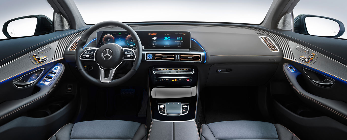 Interior Shot Of Mercedes Benz Eqc Electric Vehicle