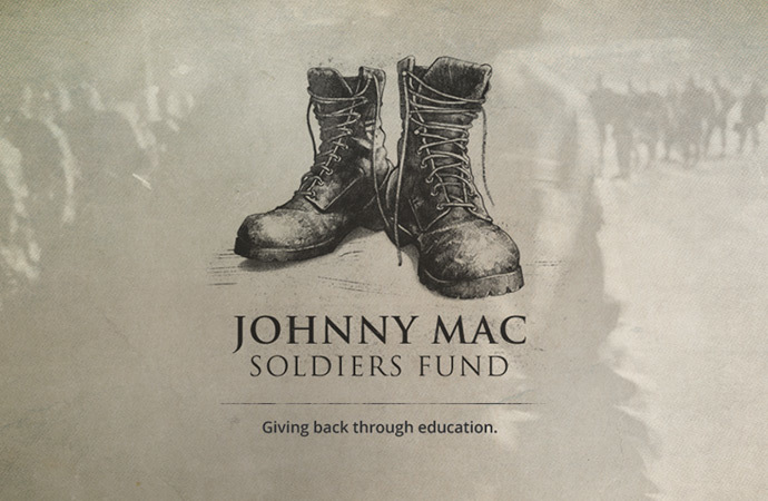 "The Johnny Mac Soldiers Fund logo with the tagline, ""Giving back through education."""