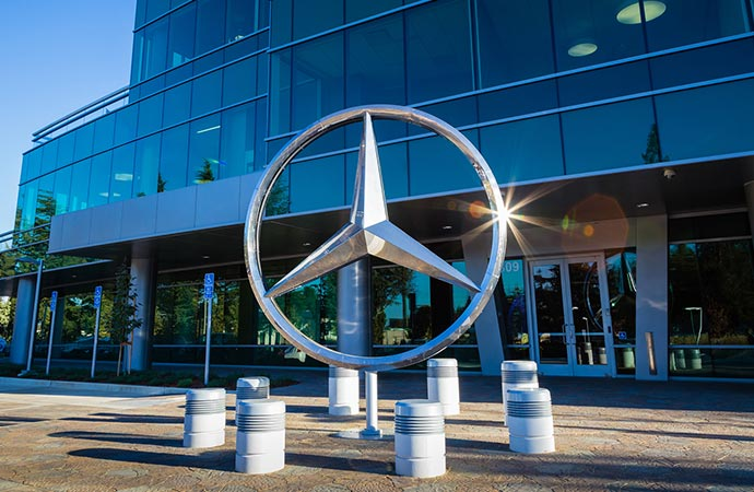 A sculpture of the three-pointed star sits outside of the Mercedes-Benz offices.