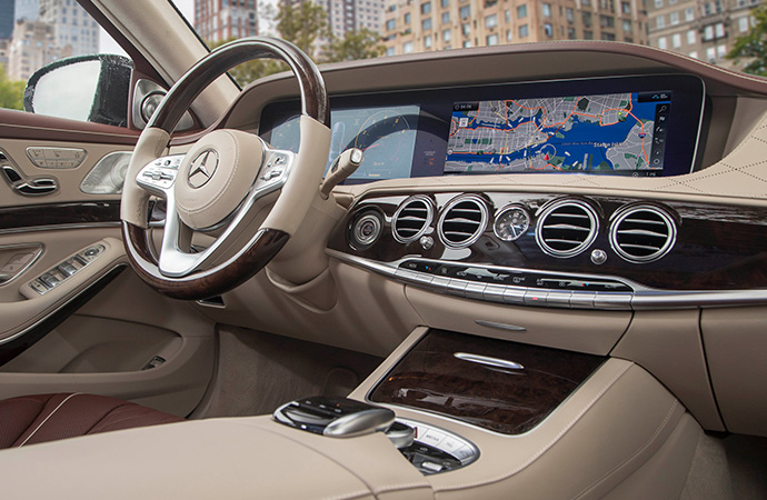 The interior of a vehicle with state-of-the-art technology.