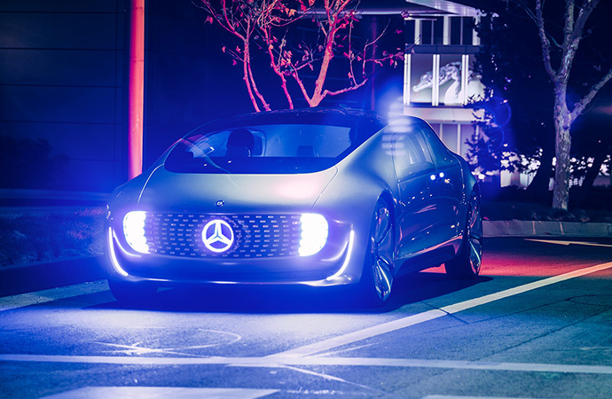 The autonomous Luxury in Motion lights up the night with its impressive exterior