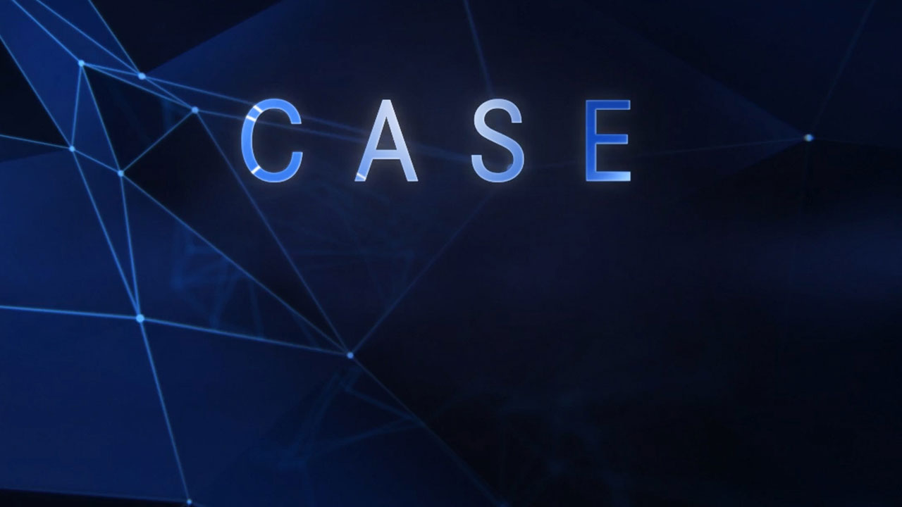 CASE in white letters over a dark blue background.