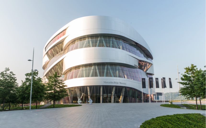 The outside of the Mercedes-Benz Museum in Germany.