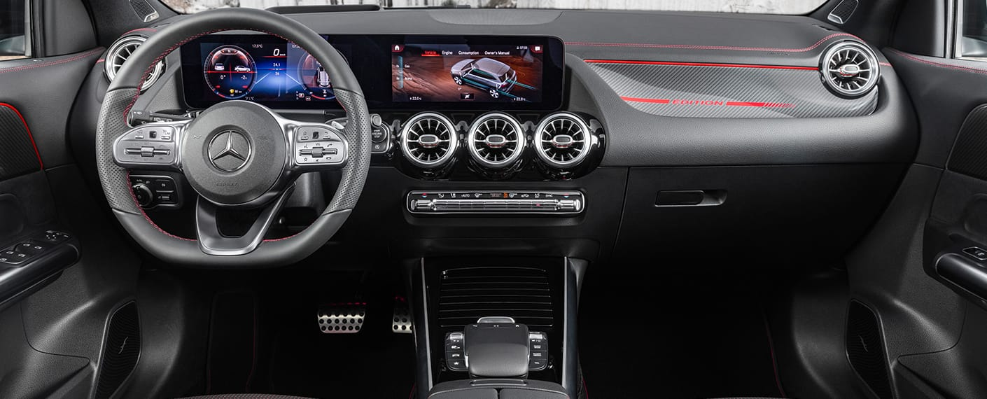 Interior front dash display in 2021 GLA
