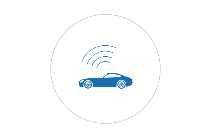 An icon of a vehicle with a wireless connection.