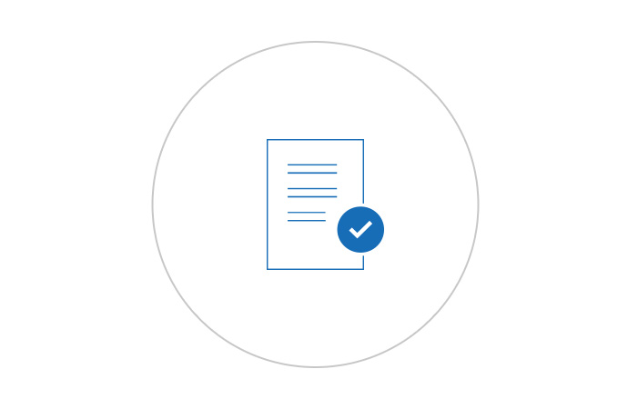 An icon of a legal document with a check mark.