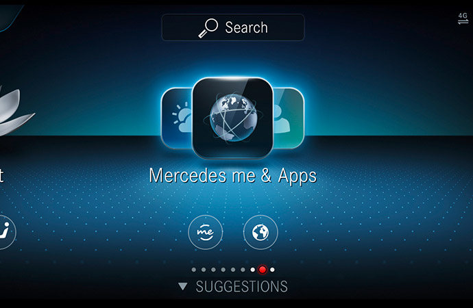 A digital display showing Mercedes me and Mercedes-Benz Apps.