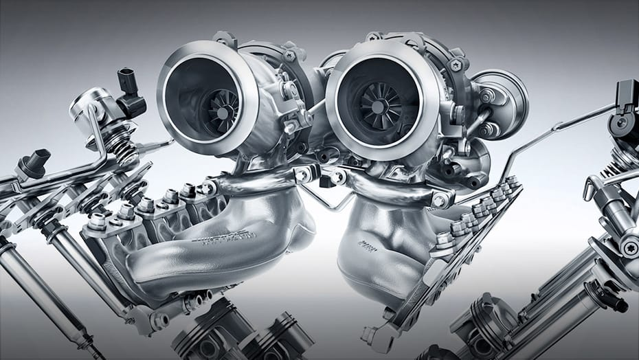 """Hot inside V"" twin-scroll turbochargers"