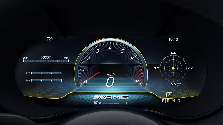 AMG menu with RACETIMER