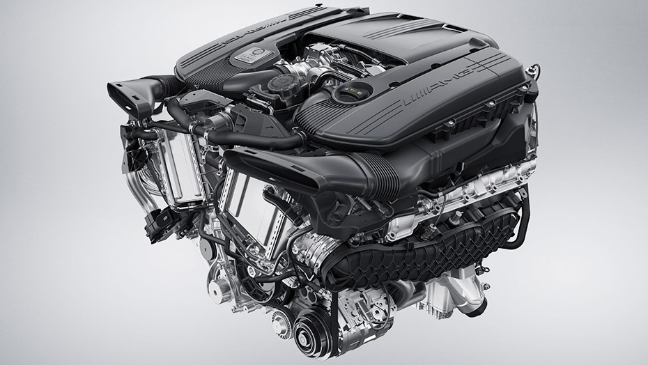 Handcrafted AMG 4.0L V8 biturbo engine