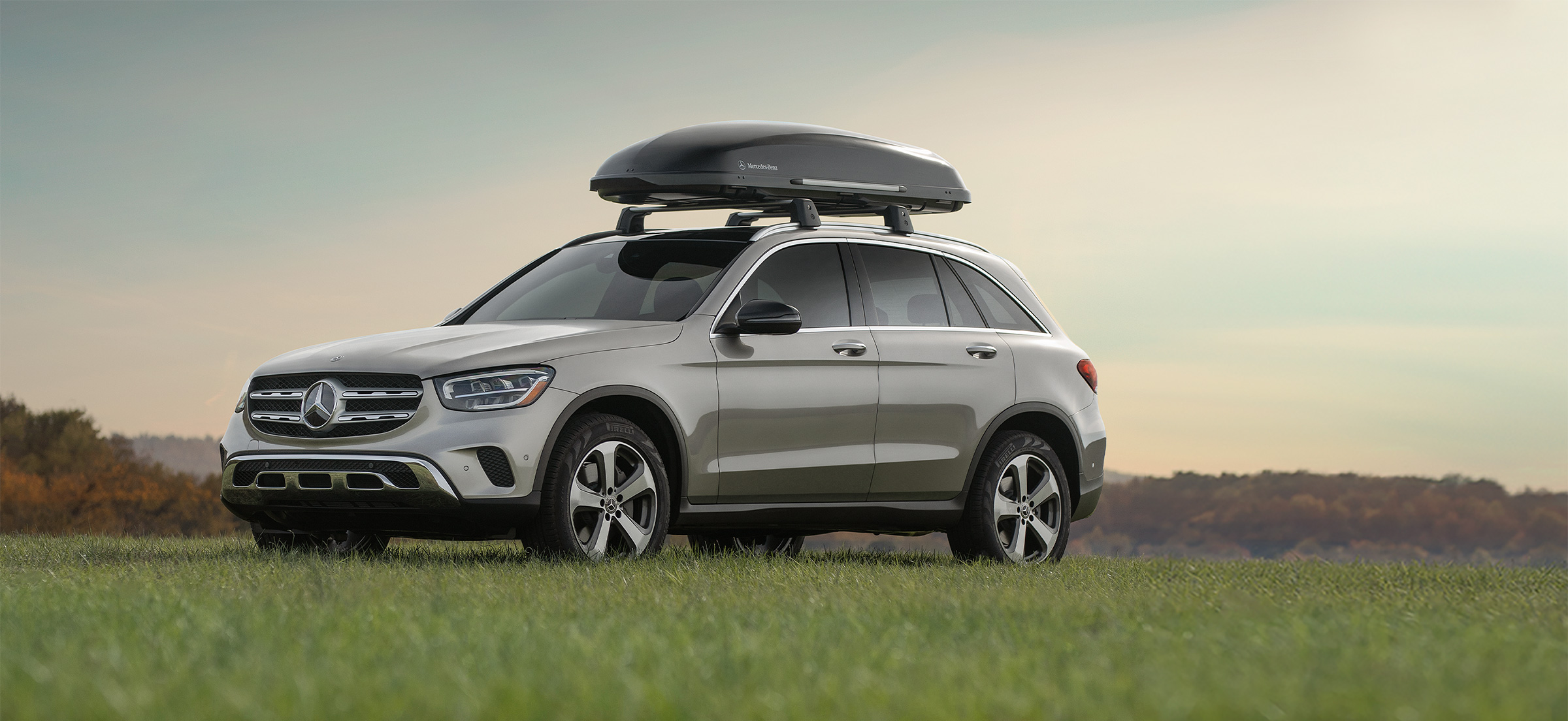 Mercedes-Benz GLC with Cargo Rack storage on the hood of the vehicle.