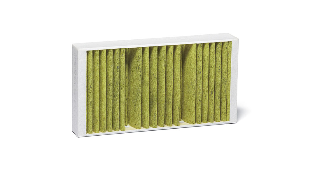 A cabin air filter on a white background.