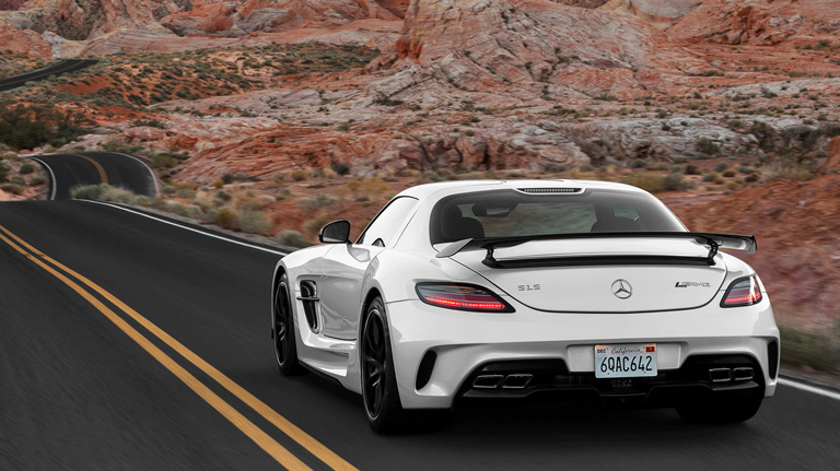 White AMG SLS AMG Coupe Black Series