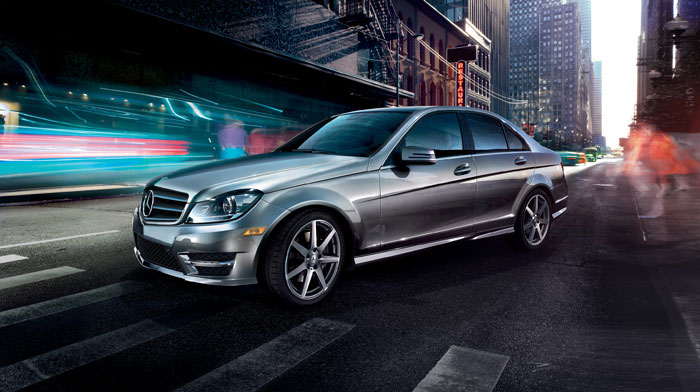 4MATIC Sport Sedan in Palladium Silver with 7-spoke AMG wheels