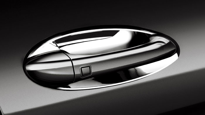 Chrome door handle inserts offer stylish protection.