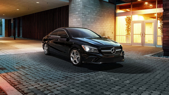 CLA250 in Night Black with standard 17-inch 5-spoke wheels