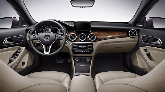 CLA250 in Beige with available hand-polished Burl Walnut wood trim