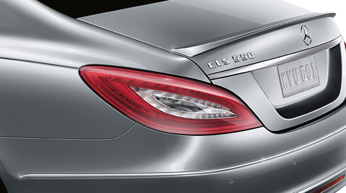 A rear spoiler accentuates the sculpted CLS-Class.
