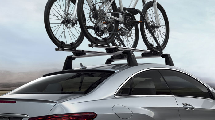 Coupe in Iridium Silver with accessory basic carrier and bike racks.