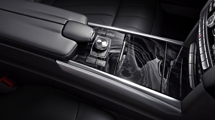 4MATIC® Sport Sedan in Black with Black Ash wood trim
