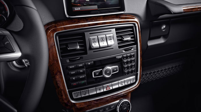 in Black Nappa leather with Burl Walnut wood trim