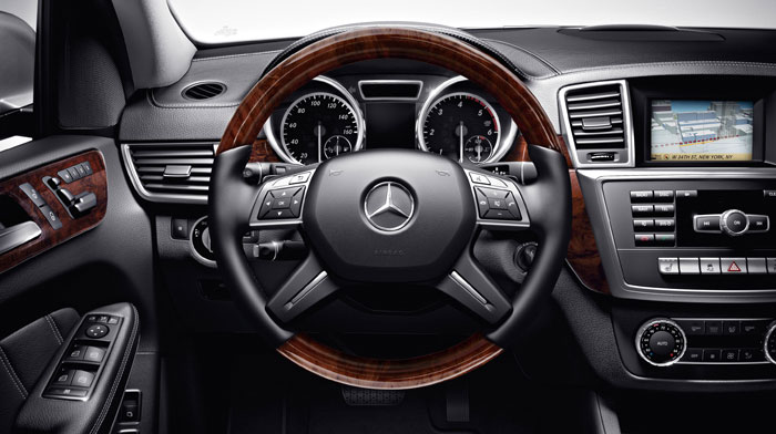 BlueTEC in Black with optional wood/leather steering wheel