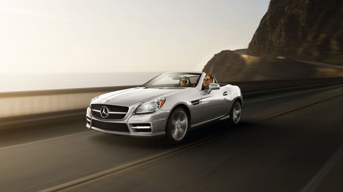 Iridium Silver SLK350 with Sport Package, top-down
