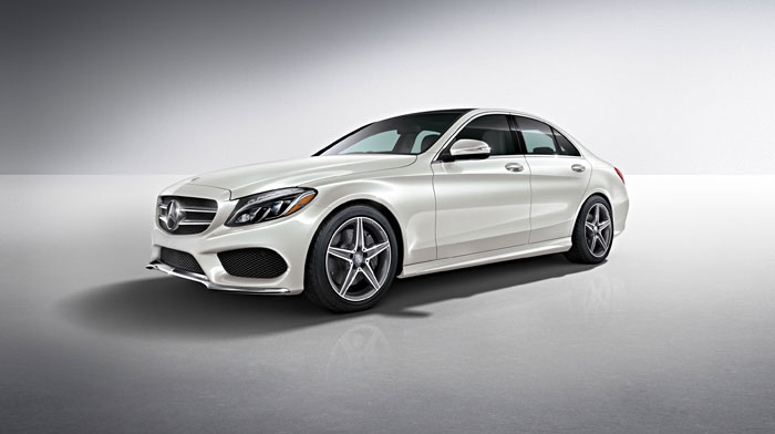 C300 Sedan in Polar White with Sport Package and full-LED headlamps