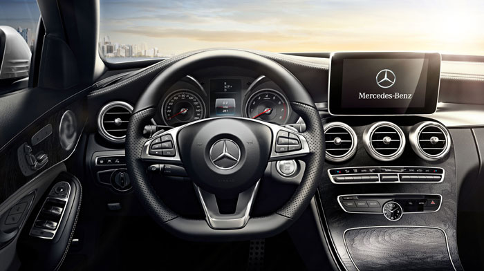 C300 Sedan in Crystal Grey/Black with Open-pore Black Ash wood