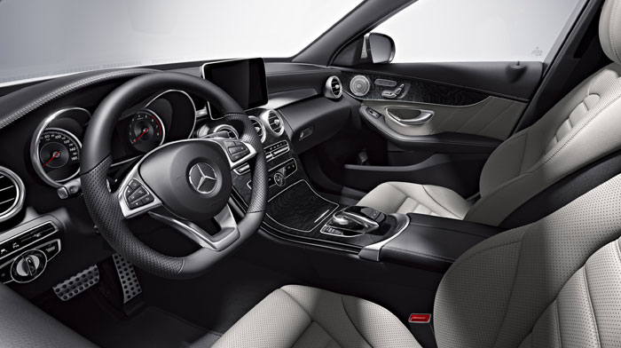 4MATIC Sedan in Crystal Grey/Black leather with Open-pore Black Ash wood