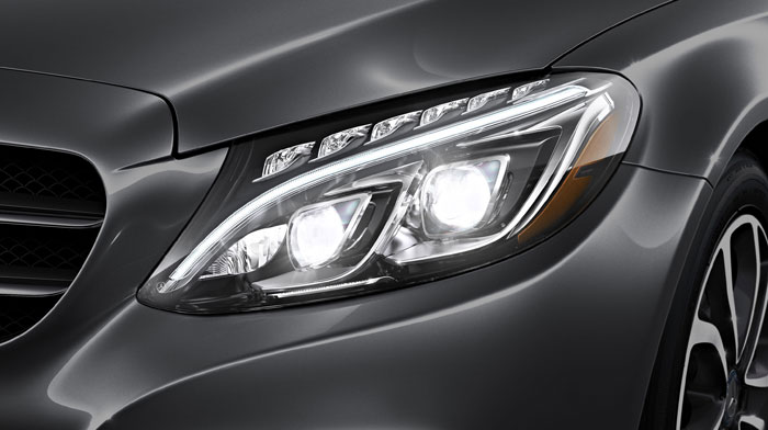 C300 Sedan in Steel Grey with active full-LED headlamps