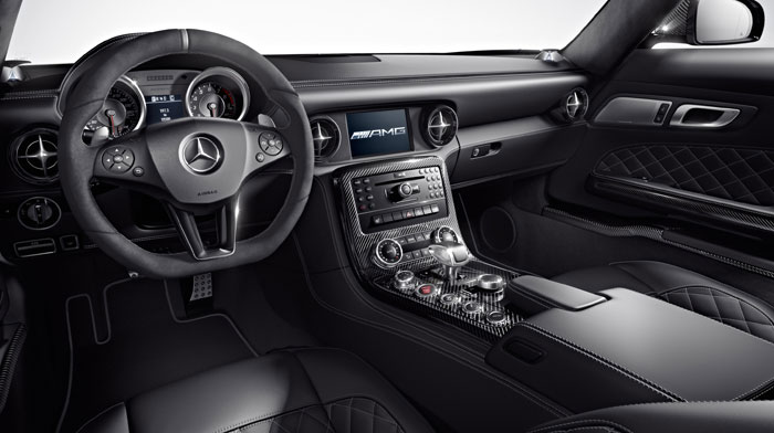SLS AMG GT in Black designo Nappa leather with red stitching