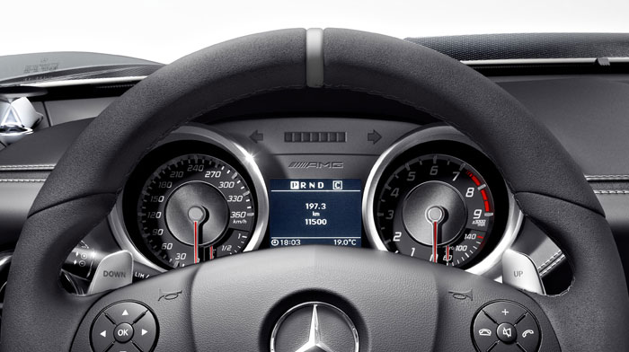 SLS AMG GT with black gauge faces