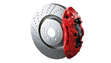 Red-painted brake calipers